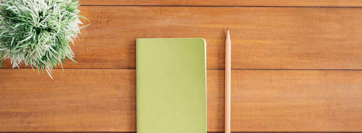 photo of a closed notebook, pencil and small plant on a desk surface