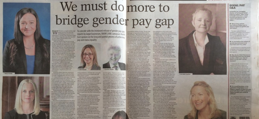 newspaper article entitled 'We must do more to bridge gender pay gap', with image of Julie and other local businesswomen who contributed
