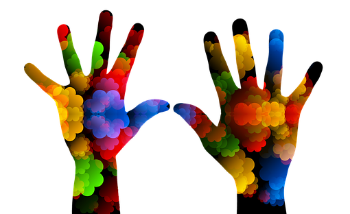 graphic of two differently sized hands in multiple bright colours